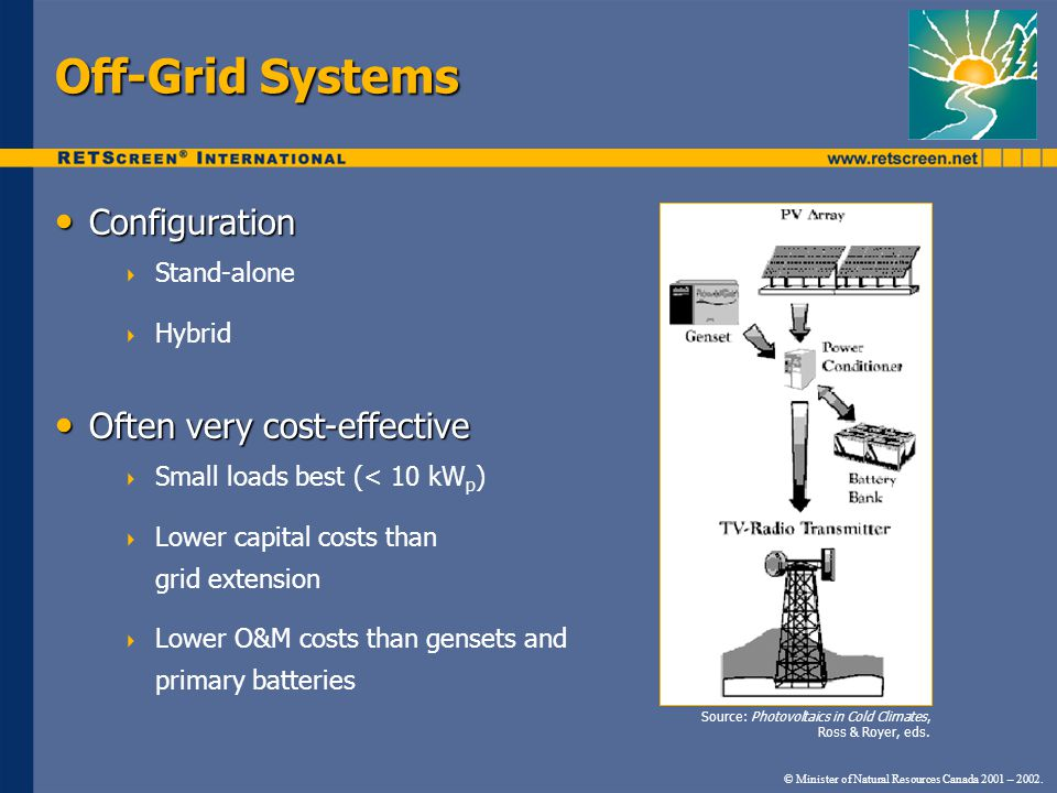 Off-Grid Systems Configuration Often very cost-effective Stand-alone