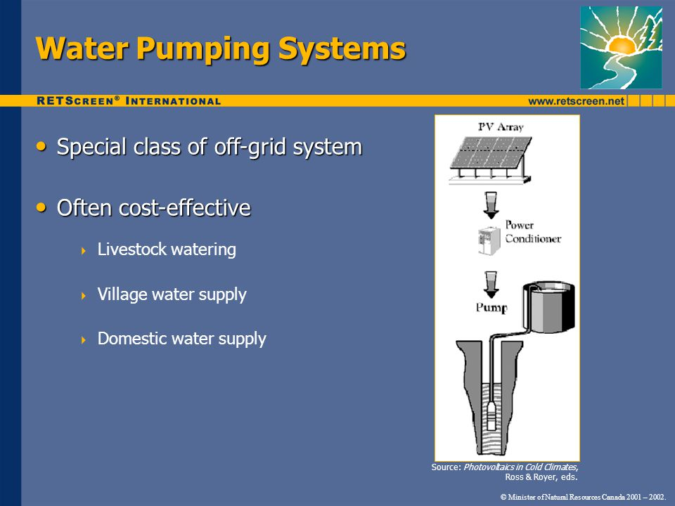 Water Pumping Systems Special class of off-grid system