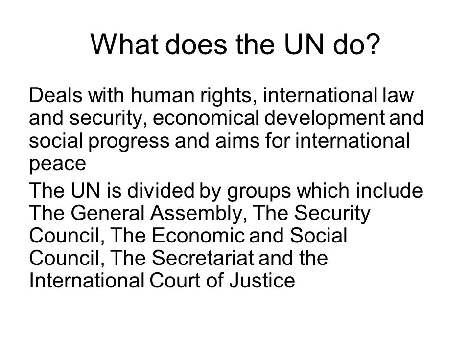 What does the UN do