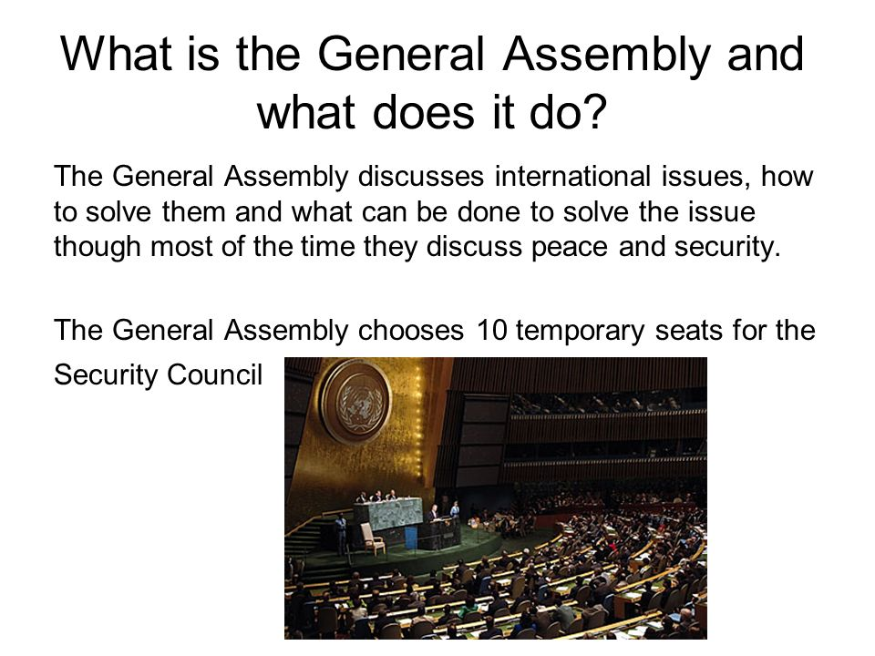 What is the General Assembly and what does it do
