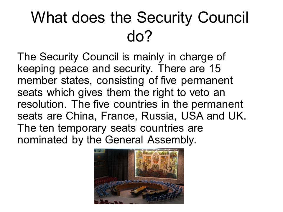 What does the Security Council do