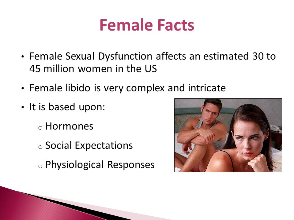 Female FactsFemale Sexual Dysfunction affects an estimated 30 to 45 million women in the US. Female libido is very complex and intricate.