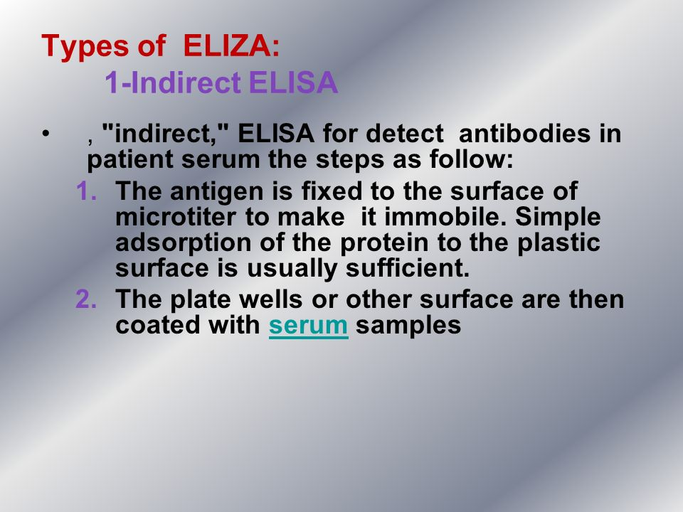 Types of ELIZA: 1-Indirect ELISA