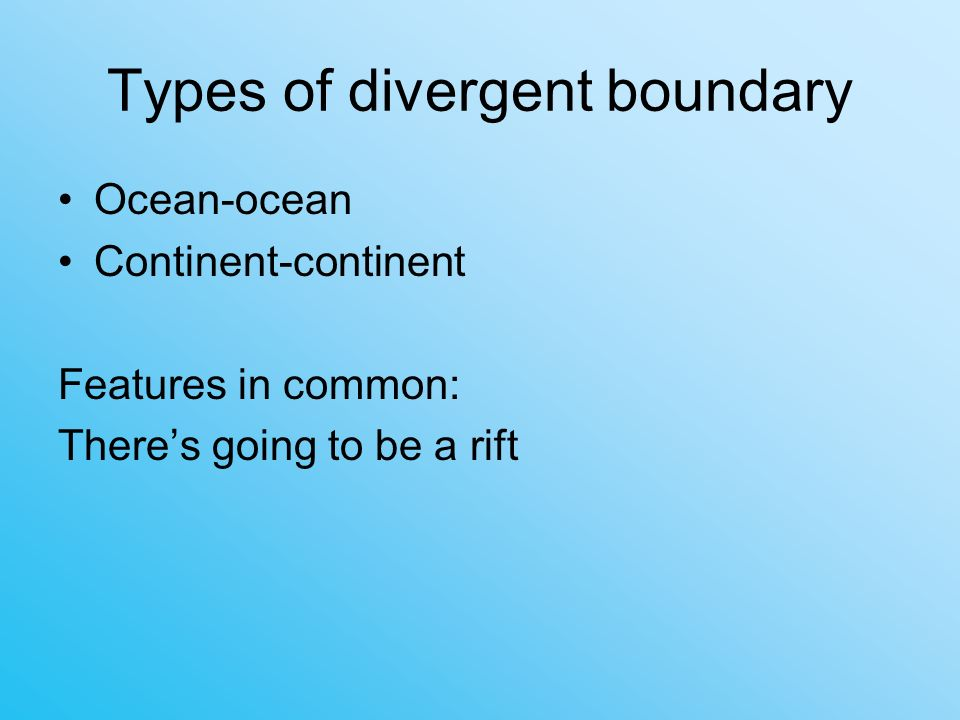 Types of divergent boundary