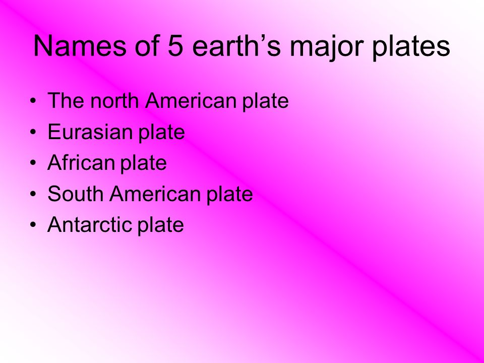 Names of 5 earth's major plates