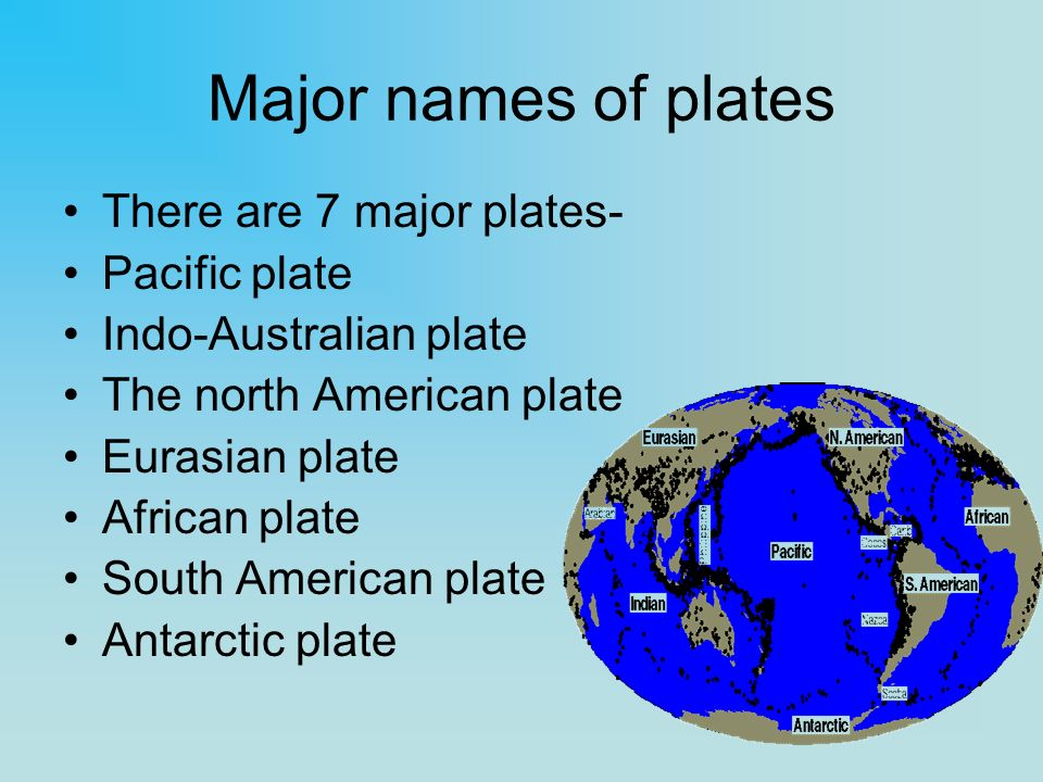 Major names of plates There are 7 major plates- Pacific plate