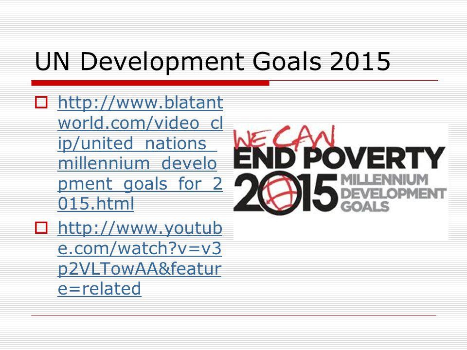 UN Development Goals 2015http://www.blatantworld.com/video_clip/united_nations_millennium_development_goals_for_2015.html.