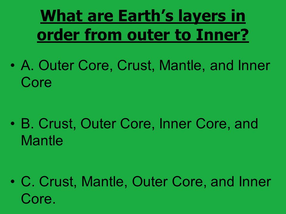 What are Earth's layers in order from outer to Inner