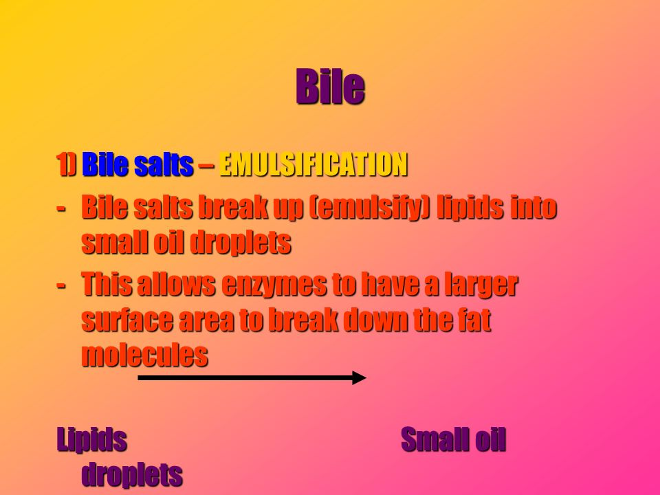 Bile 1) Bile salts – EMULSIFICATION