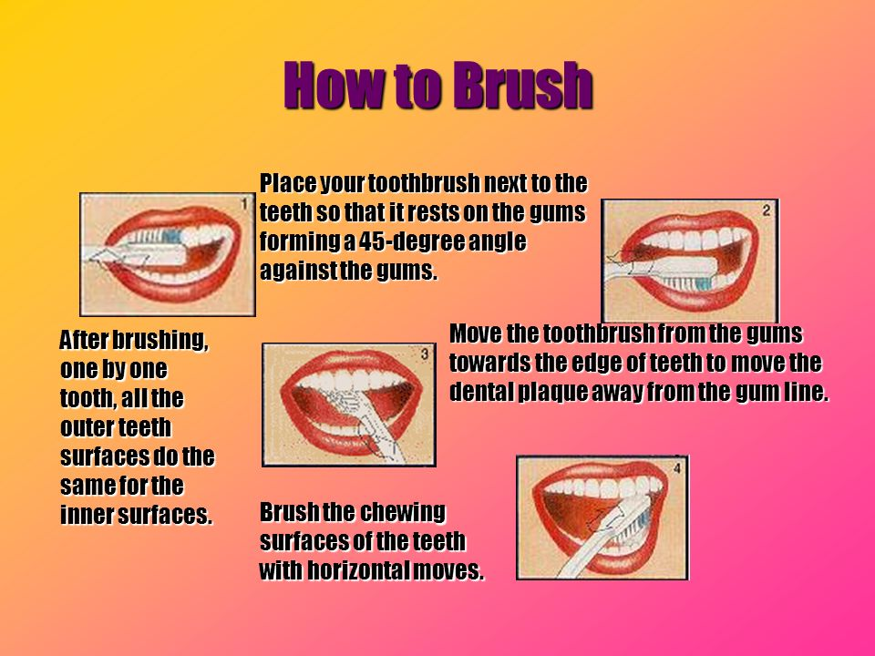 How to Brush Place your toothbrush next to the teeth so that it rests on the gums forming a 45-degree angle against the gums.
