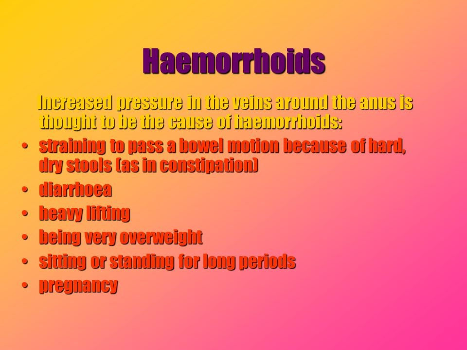Haemorrhoids Increased pressure in the veins around the anus is thought to be the cause of haemorrhoids: