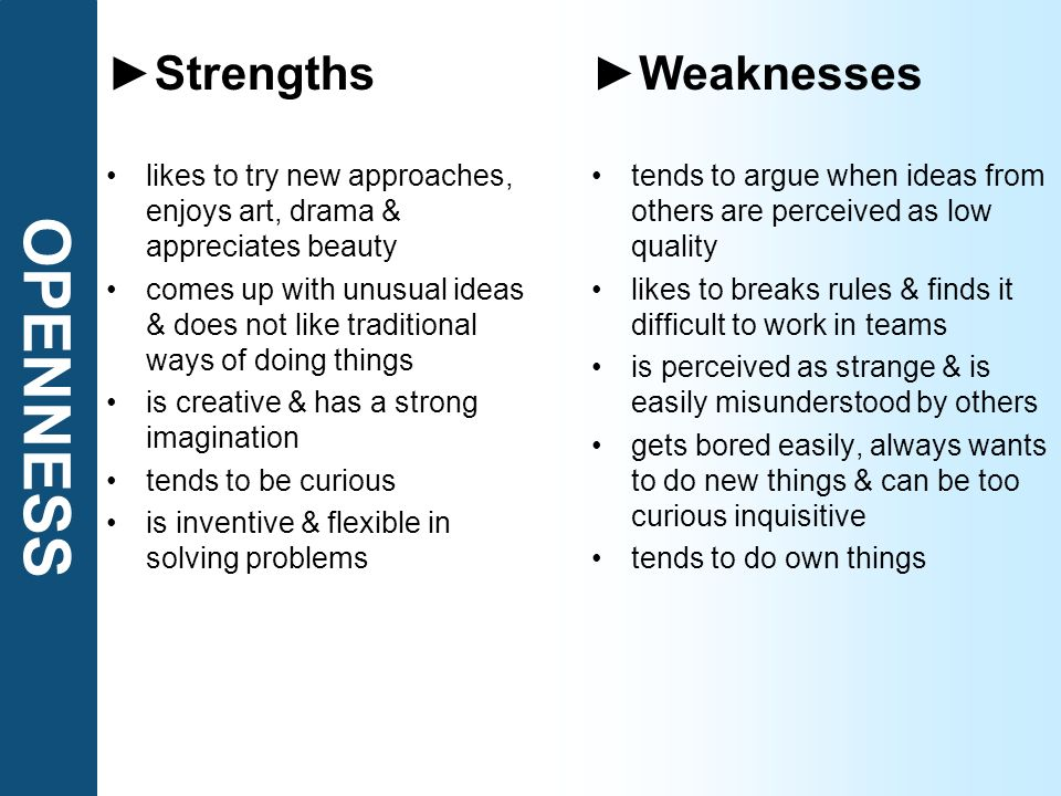 OPENNESS ►Strengths ►Weaknesses