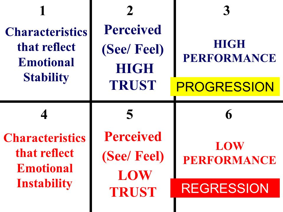1 2 3 Perceived (See/ Feel) HIGH TRUST 4 5 6 Perceived (See/ Feel)