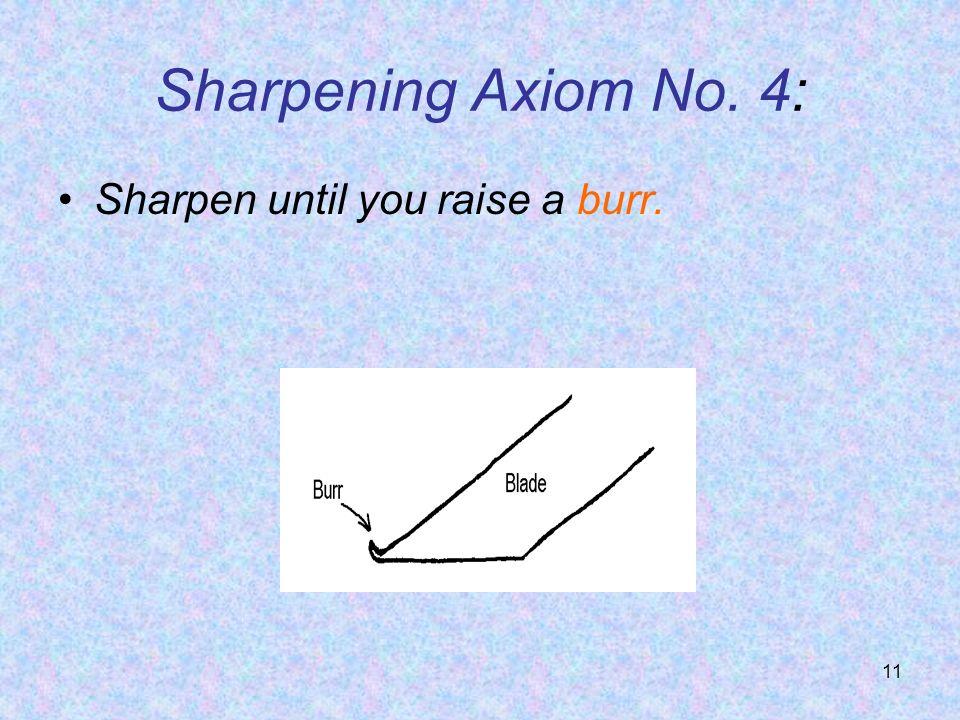 Sharpening Axiom No. 4: Sharpen until you raise a burr.