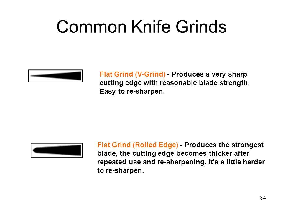 Common Knife Grinds Flat Grind (V-Grind) - Produces a very sharp cutting edge with reasonable blade strength. Easy to re-sharpen.
