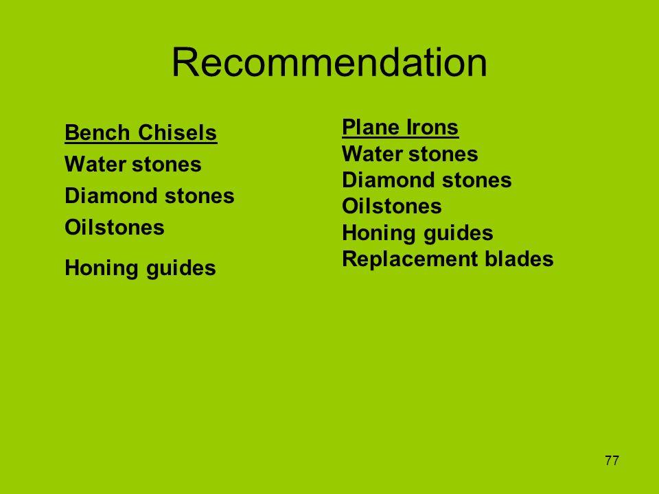 Recommendation Plane Irons Water stones Diamond stones Oilstones