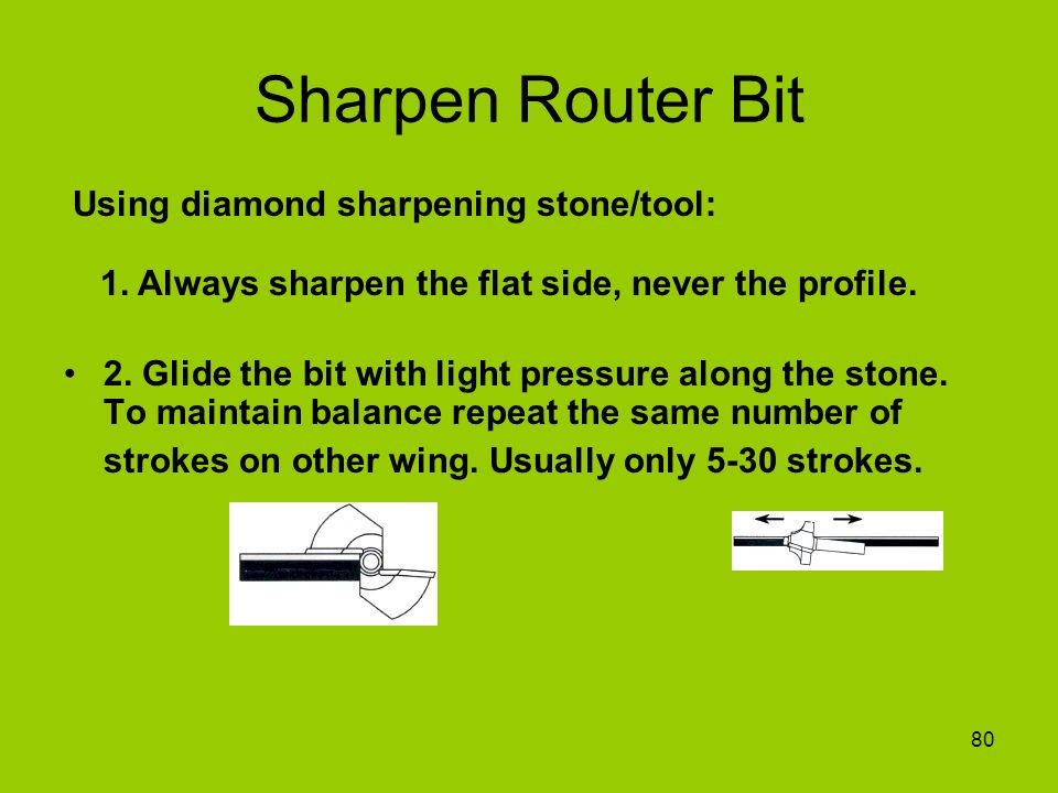 Sharpen Router Bit Using diamond sharpening stone/tool: