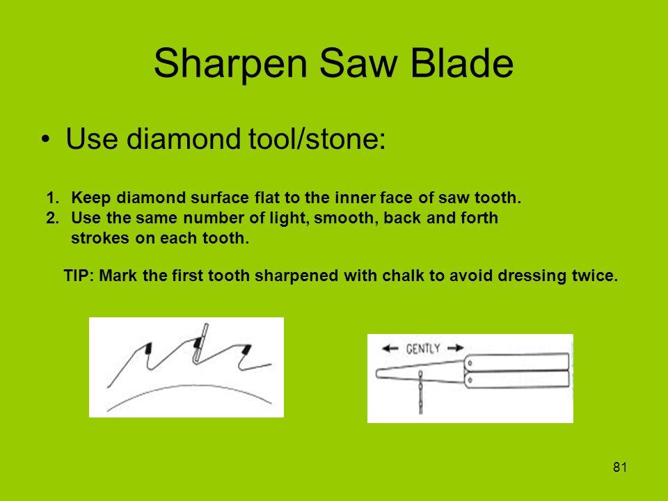 Sharpen Saw Blade Use diamond tool/stone: