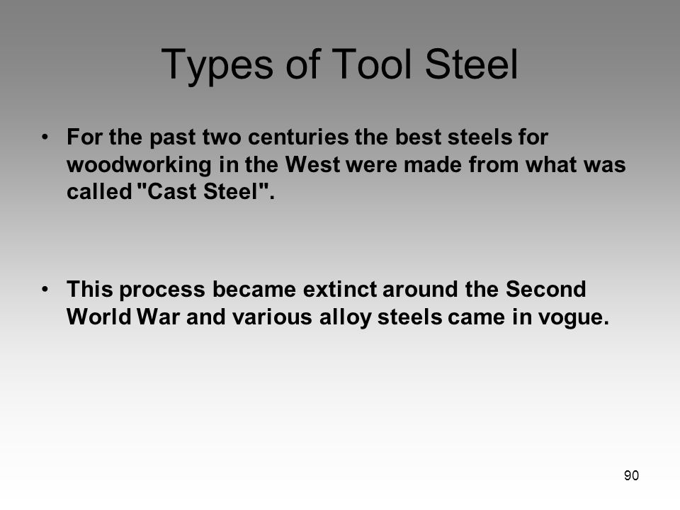 Types of Tool Steel For the past two centuries the best steels for woodworking in the West were made from what was called Cast Steel .