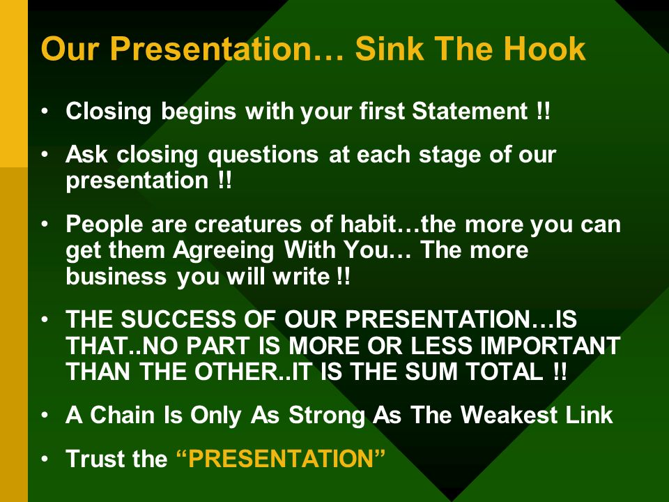 Our Presentation… Sink The Hook