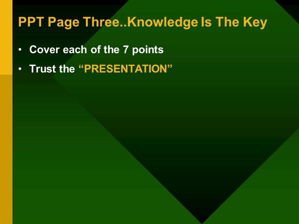 PPT Page Three..Knowledge Is The Key