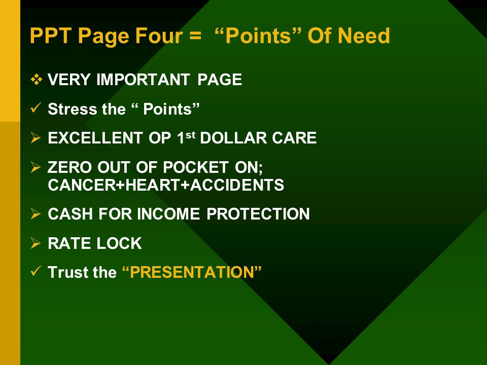 PPT Page Four = Points Of Need