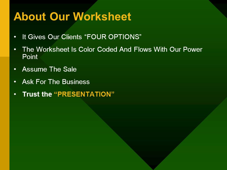 About Our Worksheet It Gives Our Clients FOUR OPTIONS