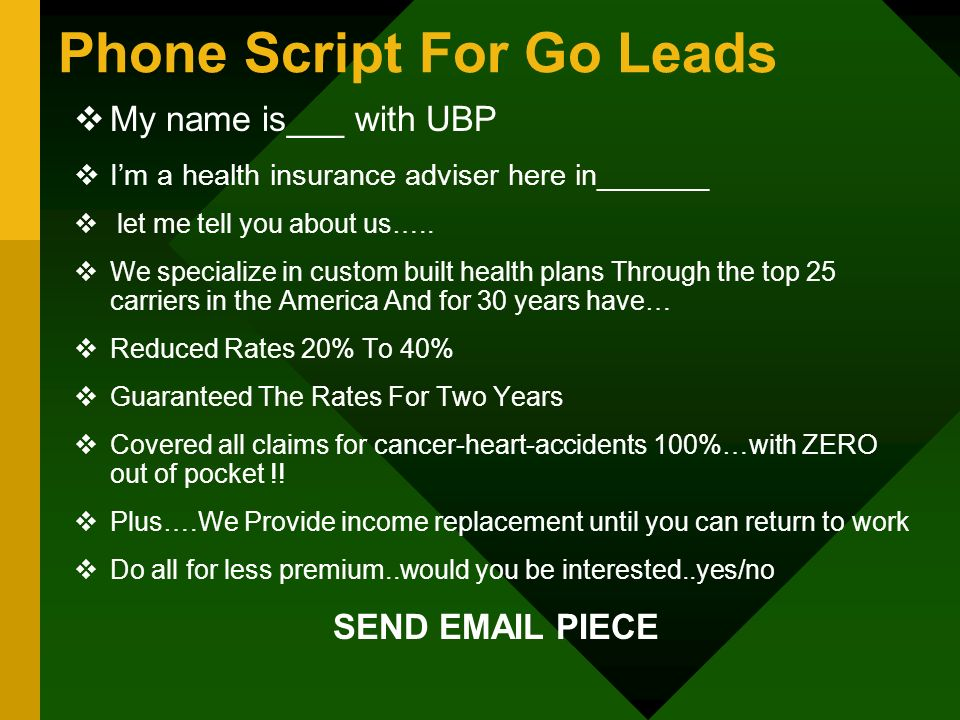 Phone Script For Go Leads