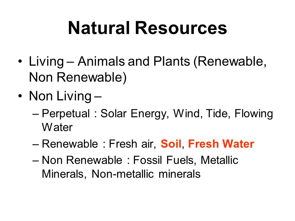 Natural Resources Living – Animals and Plants (Renewable, Non Renewable) Non Living – Perpetual : Solar Energy, Wind, Tide, Flowing Water.