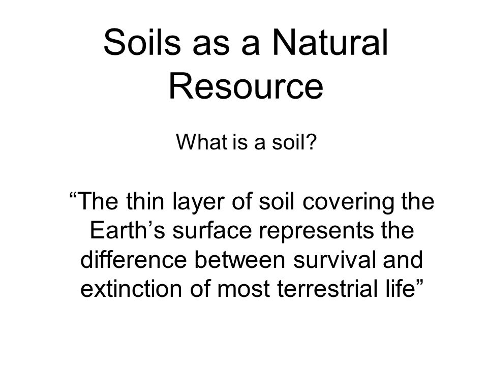 Soils as a Natural Resource