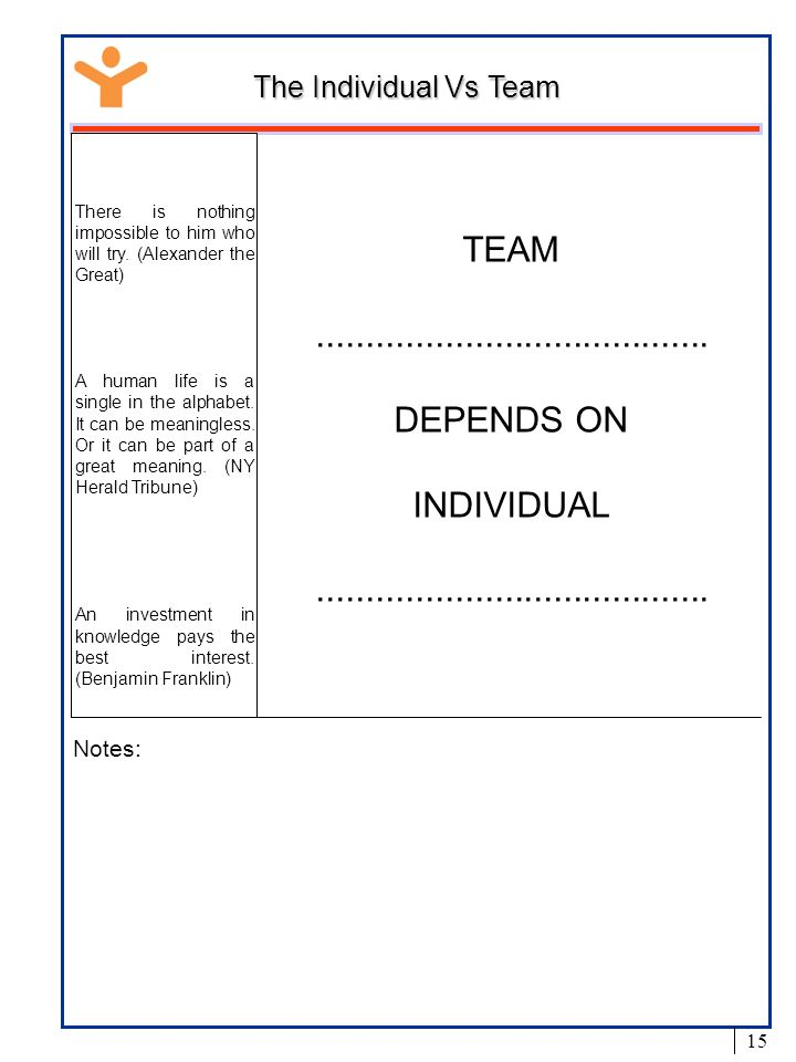 TEAM ........................................ DEPENDS ON INDIVIDUAL