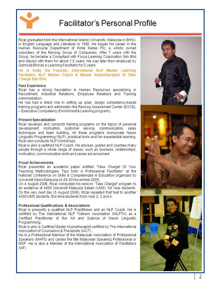 Facilitator's Personal Profile