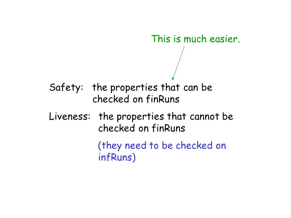 This is much easier. Safety: the properties that can be checked on finRuns.