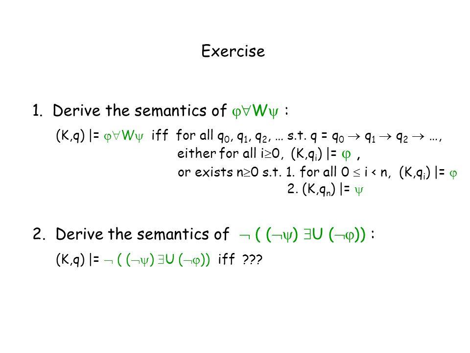 1. Derive the semantics of W :