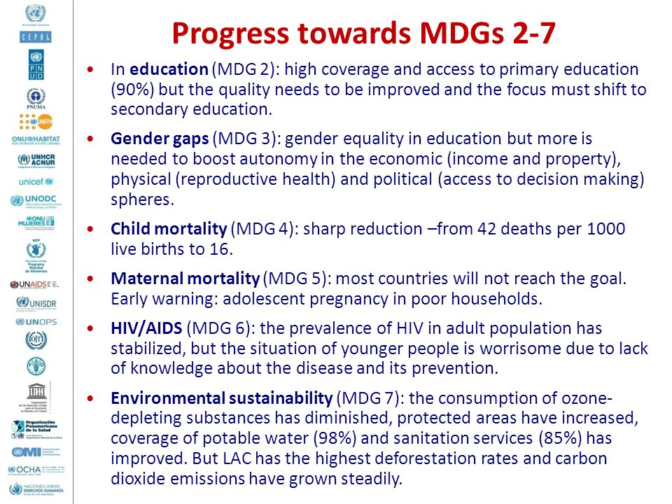 Progress towards MDGs 2-7