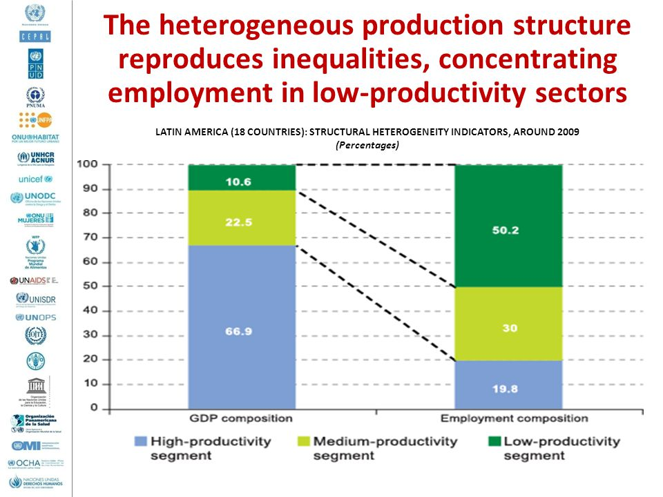 The heterogeneous production structure reproduces inequalities, concentrating employment in low-productivity sectors