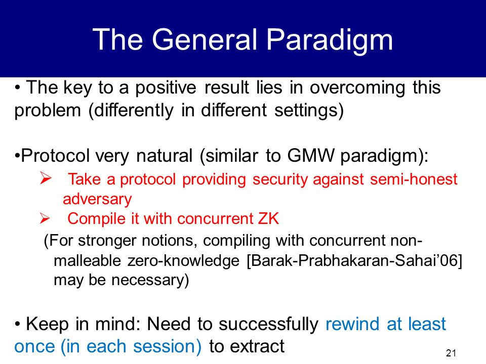 The General Paradigm The key to a positive result lies in overcoming this problem (differently in different settings)