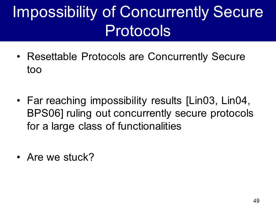 Impossibility of Concurrently Secure Protocols