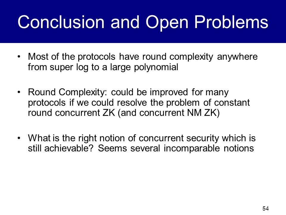 Conclusion and Open Problems