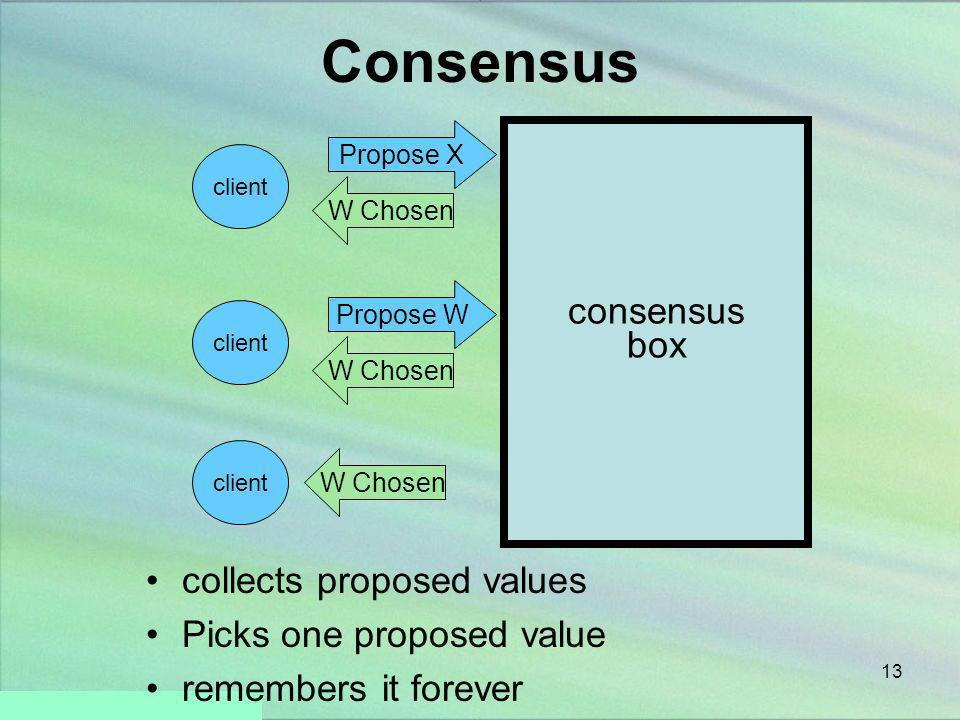 Consensus consensus box collects proposed values