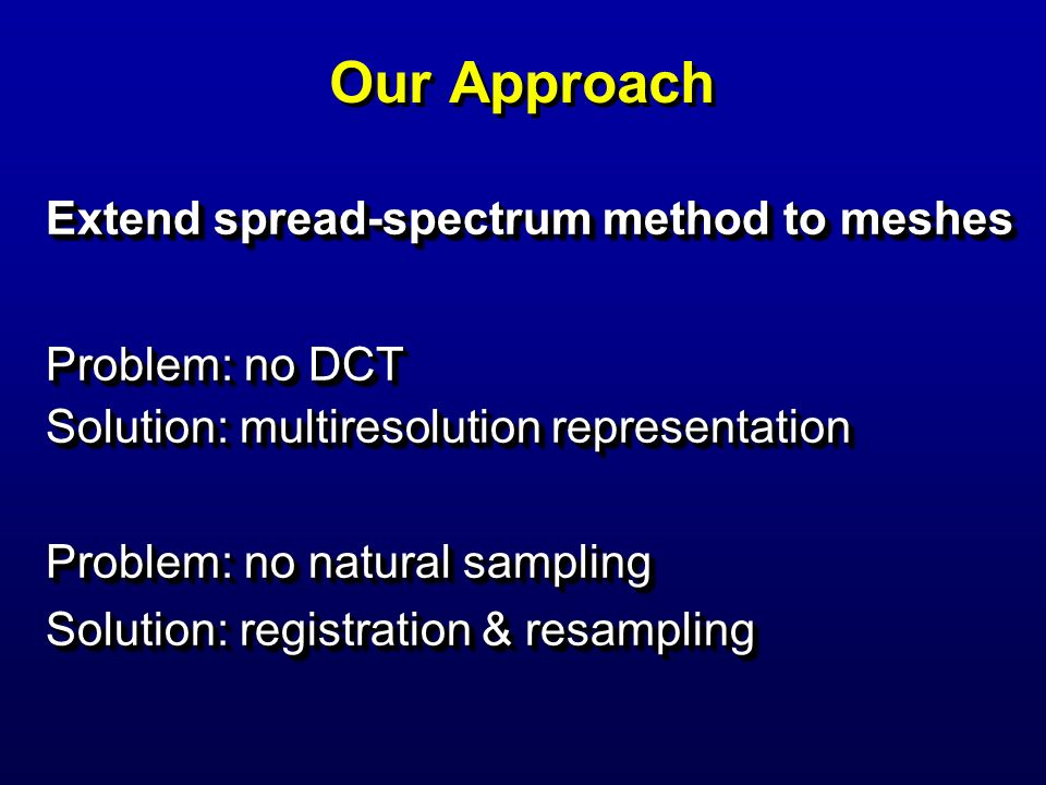 Our Approach Extend spread-spectrum method to meshes Problem: no DCT