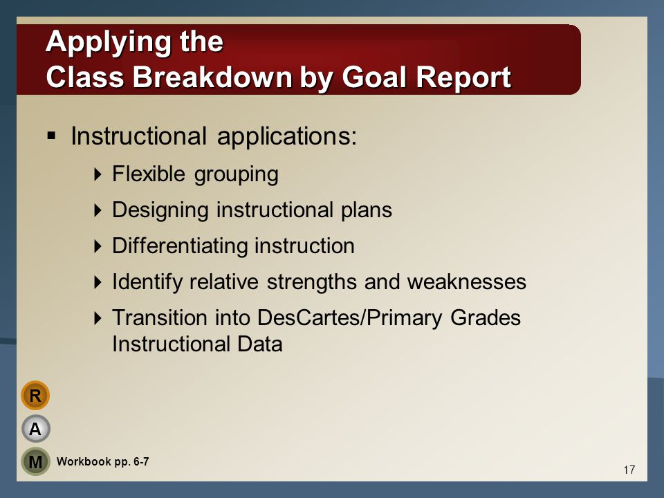 Applying the Class Breakdown by Goal Report
