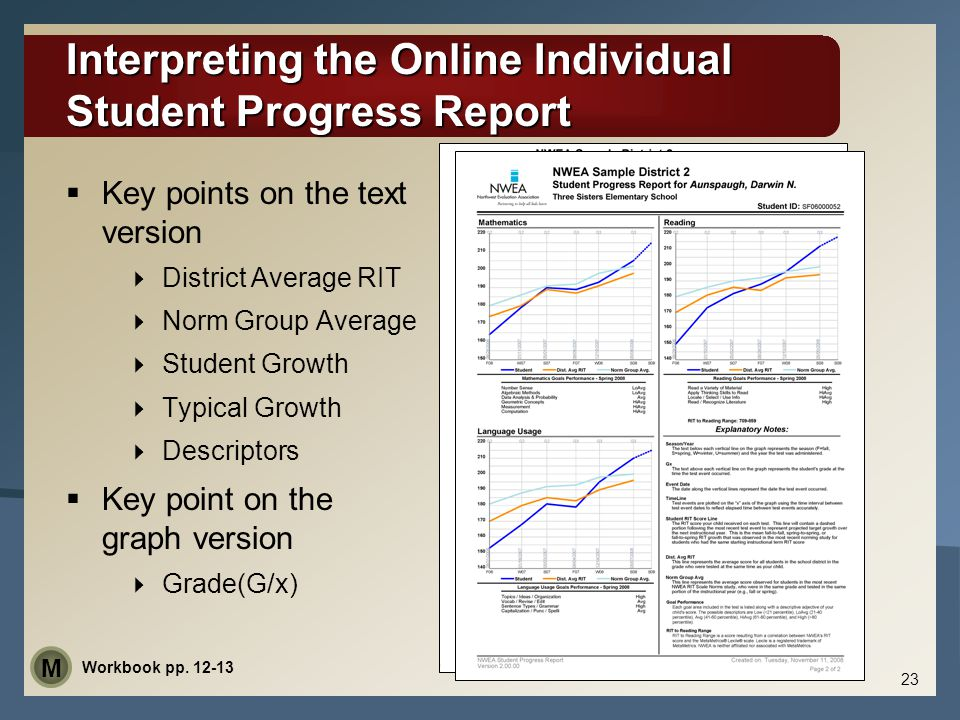 Interpreting the Online Individual Student Progress Report