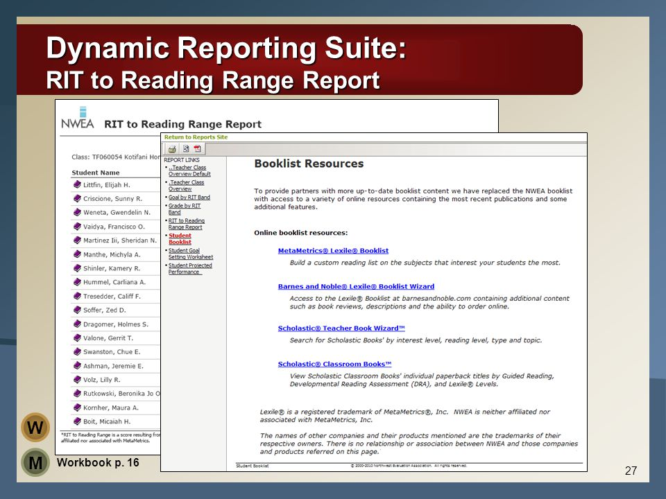 Dynamic Reporting Suite: RIT to Reading Range Report