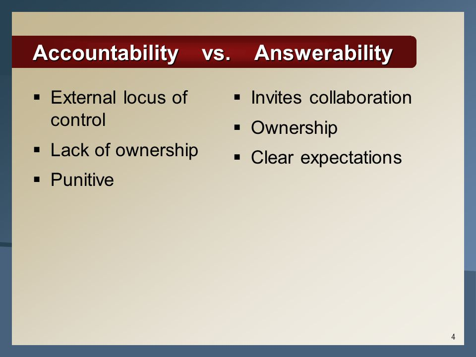 Accountability vs. Answerability