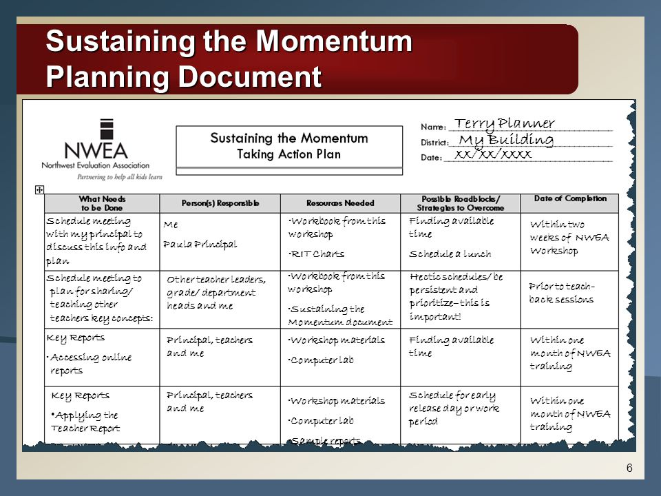 Sustaining the Momentum Planning Document