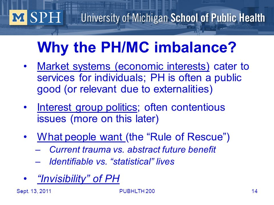 Why the PH/MC imbalance