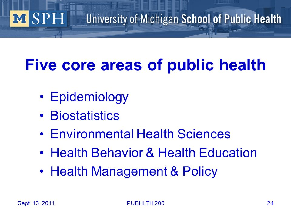 Five core areas of public health