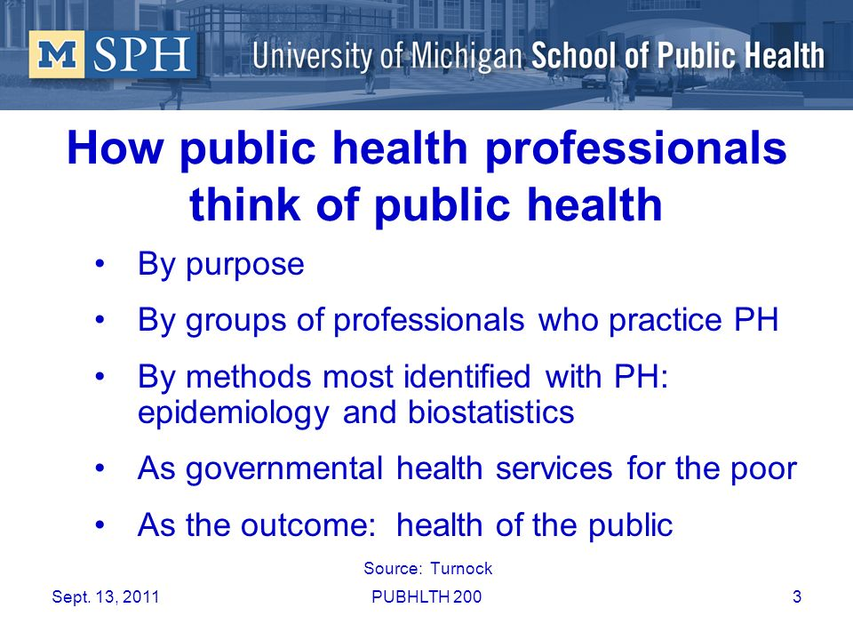 How public health professionals think of public health
