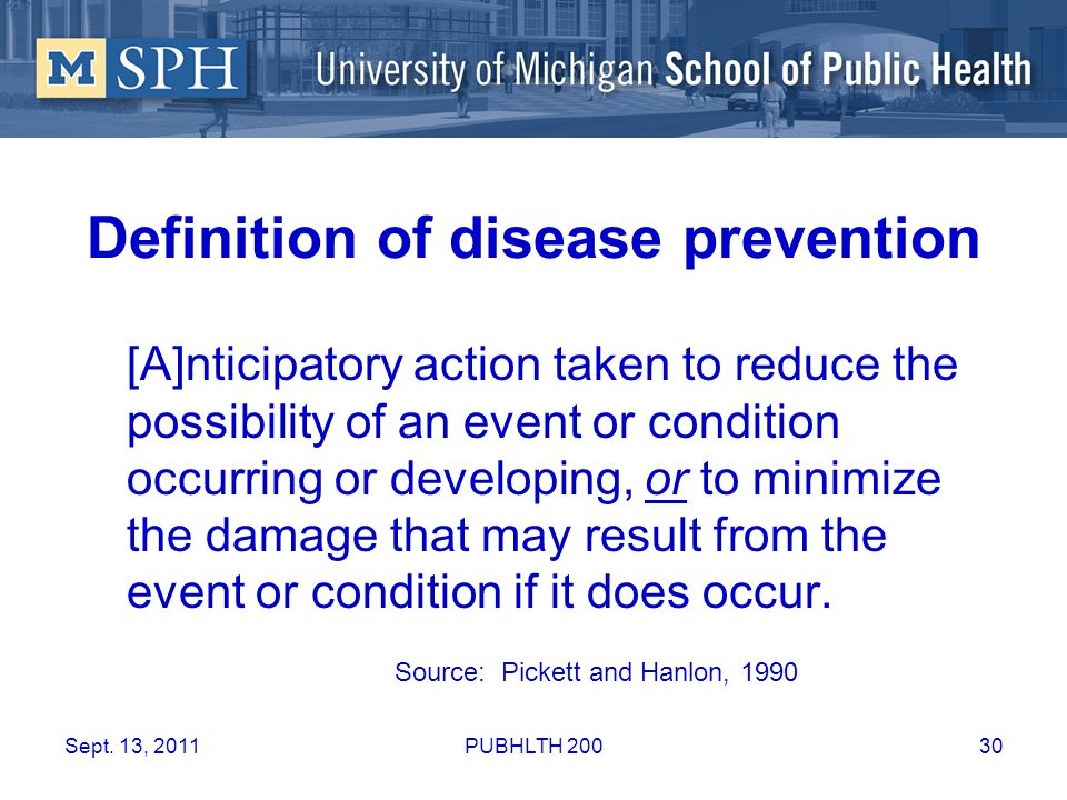 Definition of disease prevention